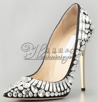 New 2014 Women Genuine Leather Pumps Rhinestone  Pointed Toe High Heel Pumps Brand Wedding Shoes