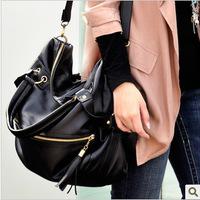 Promotion 2014 New Women big handbag Lady black/brown PU Leather Handbags Female Casual bag Tassel Zipper Shoulder Bags For gift