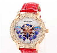 1000pcs/lot 2014 New Quartz Watch Leather Straps Women Rhinestone Watches Diamante Dial Fashion butterfly Lady Watch