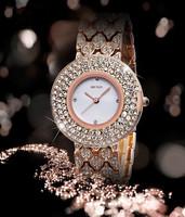 Famous Top Brand Luxury Fashion Round Rhinestone Women Lady Table Clock Diamond Decoration Watch Free Shipping
