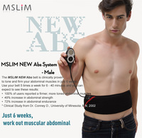 Update Newest MSLIM Rechargeable ABS Male Slimming Flex Belt ABS System Slim Massage Belt free shipping
