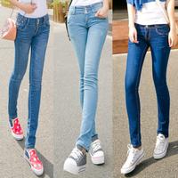 Spring and autumn plus size elastic blue buttons mid waist pencil pants jeans women's   3 color  cotton