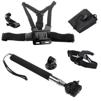 Chest Harness+Head Strap Mount +Handheld Monopod +Tripod Adapter+J-Hook Buckle+bag for Gopro HD Hero 1 2 3 3+ Go pro accessories