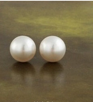 YBB C2053 8mm Japan And South Jewelry Contracted White Pearl Ball Little Bean Stud Earrings Adorn Article Simple