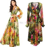 Elegant women summer new summer tropical flower print chiffon long sleeve Party Evening Dresses 2014 Vestidos De Fiesta