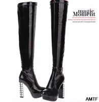 women rain boots freeshipping zip botas femininas sale 2014 new autumn and winter waterproof high with stage heel over the knee