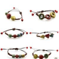 women jewelry handmade knitted bracelet unique leopard print triangle bead adjustable