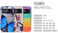 Cheap Quality Case For Galaxy S4 4th Gen Painted Cartoon Colorful PU leather Casing Flip Window View