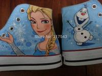 Frozen Shoes Elsa Olaf Hand Painted Blue Canvas Shoes for Women Men Fashion Shoes Online Shoes Free Shipping