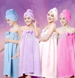 Free shipping 100% Bamboo Microfiber Bathroom towel, SPA Wrap bowknot Superfine fiber Bath towel Adult Women shower cap, A0007(China (Mainland))