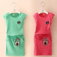 2014 Free shipping  summer digital labeling the girls clothing baby child short-sleeve slim hip skirt set