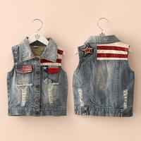 2014 Free shipping  autumn national flag boys clothing girls clothing baby child denim vest