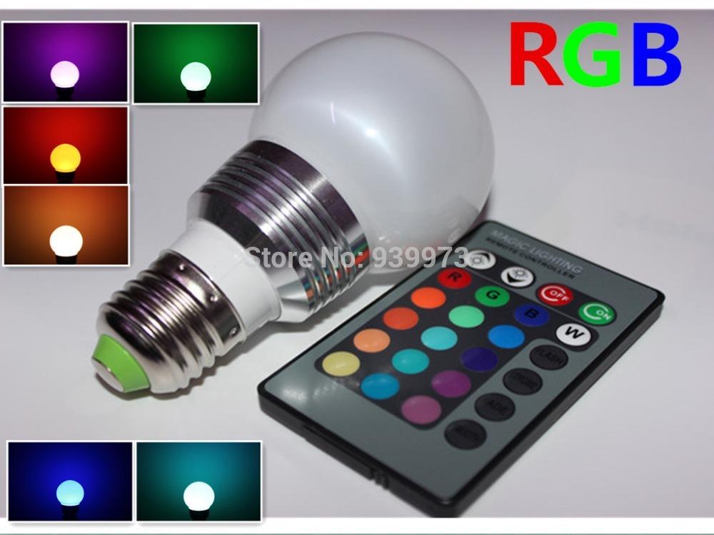 High qulity RGB LED Lamp REAL3W AC110/220V E27 led Bulb Lamp with Remote Control multiple colour led lighting free shipping(China (Mainland))