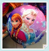 WholesaleCartoon Aluminum Happy Birthday Decoration Frozen Princess Queen Anna Round Balloon for Kids Party Supplies Foil Ballon