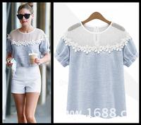 NEW 2014 t shirt fashion cozy cloth elegant tops tee casual shirt lace hollow out loose shirt Cotton plus size S-XL hemp blouse