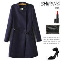 women trench, autumn Winter European American long coat, simple women trench, free belt, free shipoing, L0748