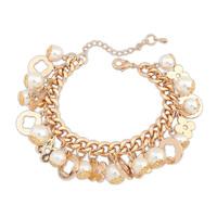 Min Order $10,HOT!Casual Fashion Chain Pearl clover Bracelet Charm Rhinestone Bracelets Jewelry Flower,Arm Bracelets,B09