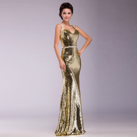 New Design Sequins Mermaid Dress Evening 8 Color V-neck Elegant Bridal Maxi Long Dresses