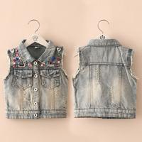 2014 Free shipping  autumn multicolour gem girls clothing baby child denim vest