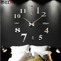 High Quality Large Size Luxury DIY 3D Wall Clock Digital Modern Mirror Sticker Wall Clock Room Decoration