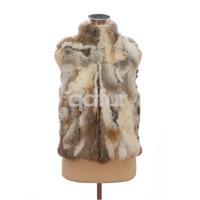 Autumn Lady Genuine Natural Spliced Rabbit Fur Vest Mandarin Collar Winter Women Fur Waistcoat Female Outerwear Coats QD30406