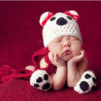 Newborn Baby Crochet Knit Puppy Dog Costume Set Photo Photography Prop Infant Animal Beanie Hat+Scarf +Paw Shoes H080