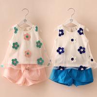 Free shipping  summer flower girls clothing baby child vest short trousers set