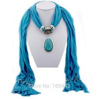 2014 Women Scarf Jewelry Pendant Resin Water Drop Tassels Design GA0051