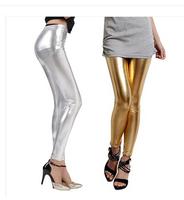 Korean summer METALLIC BRIGHT SILVER Leggings imitation gold Leggings tide slim female long pants