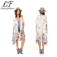 New 2014 Kimono Colorful Floral Printing Women Long Chiffon Blouse xs-xxl