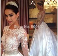 2014 Arabian Design Jewel Appliqued Beaded Long Sleeve Designer Wedding Dresses