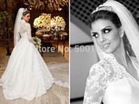 2014 The Most Popular Novia De Vestidos V Neck Long Sleeve Puffy Lace Wedding Dresses