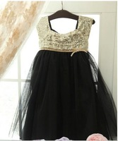 Spring  new Korean style sleeveless sequined dress gold black 5pcs/lot