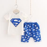 Free shipping  summer super man boys clothing girls clothing child short-sleeve T-shirt shorts set