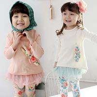 2014 Free shipping  autumn girls clothing baby child long-sleeve T-shirt legging set