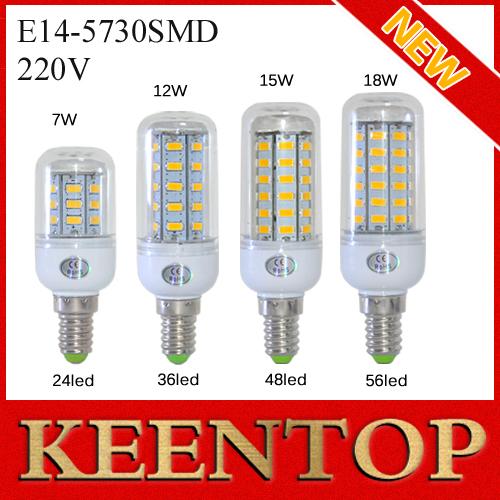 E14 SMD5730 LED Corn Lamps 7w 12w 15w 18w Spotlight 24Led 36Led 48Led 56Led Bulb Solar Wall Light Pendant Ultra Bright 1Pcs/Lot()