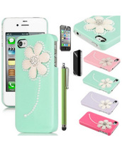 3D Flower Pearl Glitter Diamond Case Cover for iPhone 4 4G 4S.free shipping