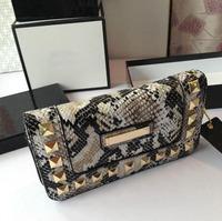 Women Snake Skin Pattern Wallets Rivet Decoration Handbags Fashion Female Clutch Purses Certificates Bags Free Shipping