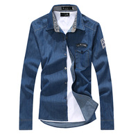 New Arrivel Autumn Spring Man's Tops Shirts Men Jeans Shirt Men Casual Shirt Slim Fit Long-Sleeves Denim Clothing plus szie XXXL