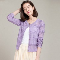 Hot Sale,Lady's Thin Knitting Hollow-out Cardigan with Long Sleeve