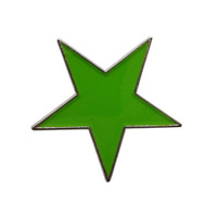 Custom unique metal green star lapel badge pins---Iron plated brass+Paints+epoxy+butterfly button Free shipping (350pcs/lot)