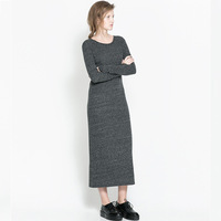 Fashion European Stylish Long Casual Dresses Long Sleeve O-Neck High Quality Knitted Gray Dresses Free Shipping Jed0995