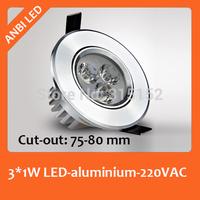 High bright led spotlight led ceiling light downlight 3w full set small spotlights mini blade,dia 90mm, cut-out :75-80mm
