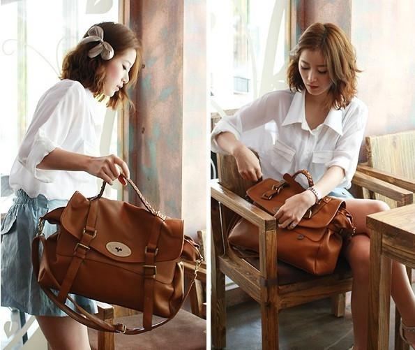New Fashion Retro Vintage Womens Messenger bag Shoulder Satchel Bag Brown women handbag free shipping(China (Mainland))