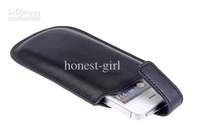Wholesale - Slim Rope Genuine Leather Case Back + Front Cover Bag Pouch Black For iphone 4 4S 10PCS