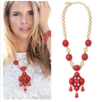 Two-in-one Two Wearing Ways Vintage Retro Bohemia Style Red Acrylic Ruby Teardrop Pendant Fashion Brand Long Necklace PBN-185