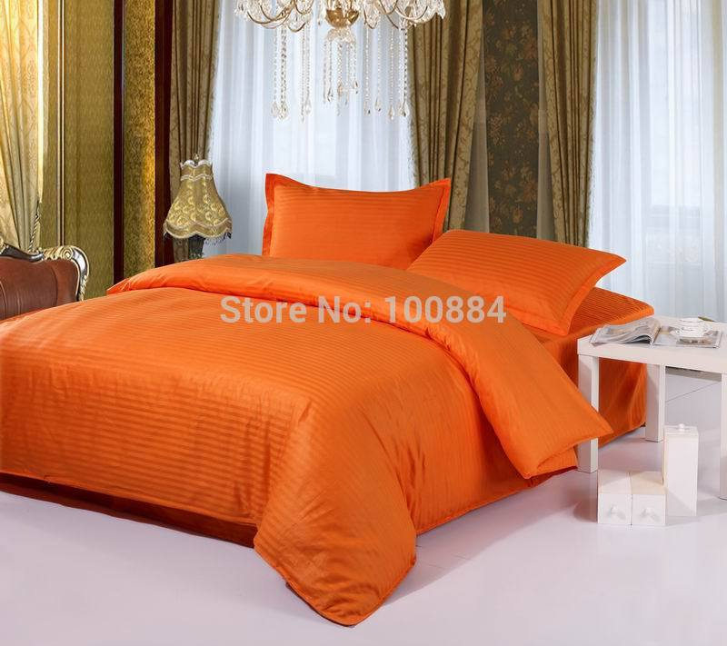 100% cotton hotel bedding sets,flat/fitted bed sheet hotel bedlinen,king/queen/full size striped oranger color bed sheet sets(China (Mainland))