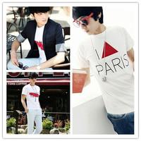 Korean Mens Cotton Tee Shirt Tops Fashion Short Sleeve Casual T-Shirt Sz M L XL For Freeshipping