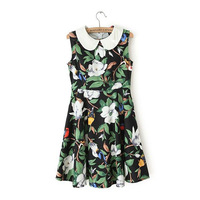 2014 Summer Cute Peter Pan Collar Sleeveless Fashion Flower Printed Slim Fit A-Line Dresses Plus Size Free Shipping Jed1004
