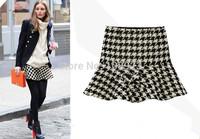 Free Shipping 2014New Fashion Women Spring Autumn Winter OL Geometric Pattern Ruffles Retro Slim Short Ladies Ball Gown Skirt s